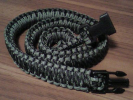 My finished paracord survival belt - very strong and comfortable!  I used two different colors of cord, a lighter accent color, and a darker main color.